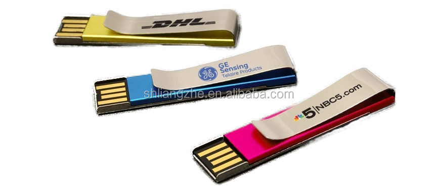Tie clip custom metal usb pendrive,promotional usb pen drive clip with custom logo