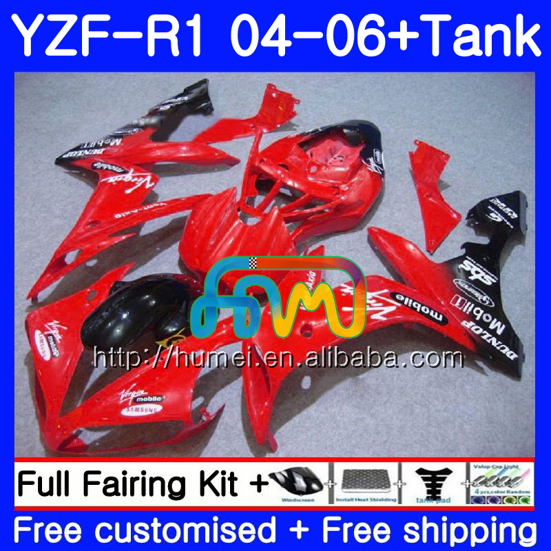 Body kit For YAMAHA YZF 1000 R 1 YZF <strong>R1</strong> <strong>04</strong> 05 06 95HM65 YZF-1000 red black YZF-<strong>R1</strong> 2004 2005 2006 YZF1000 YZFR1 <strong>04</strong> 06 <strong>Fairing</strong>