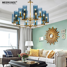 MEEROSEE Luxury Crystal Chandelier Pendant Lamp Blue Glass Tube Retro Suspended Lighting Fitting for Hotel Restaurant MD85523