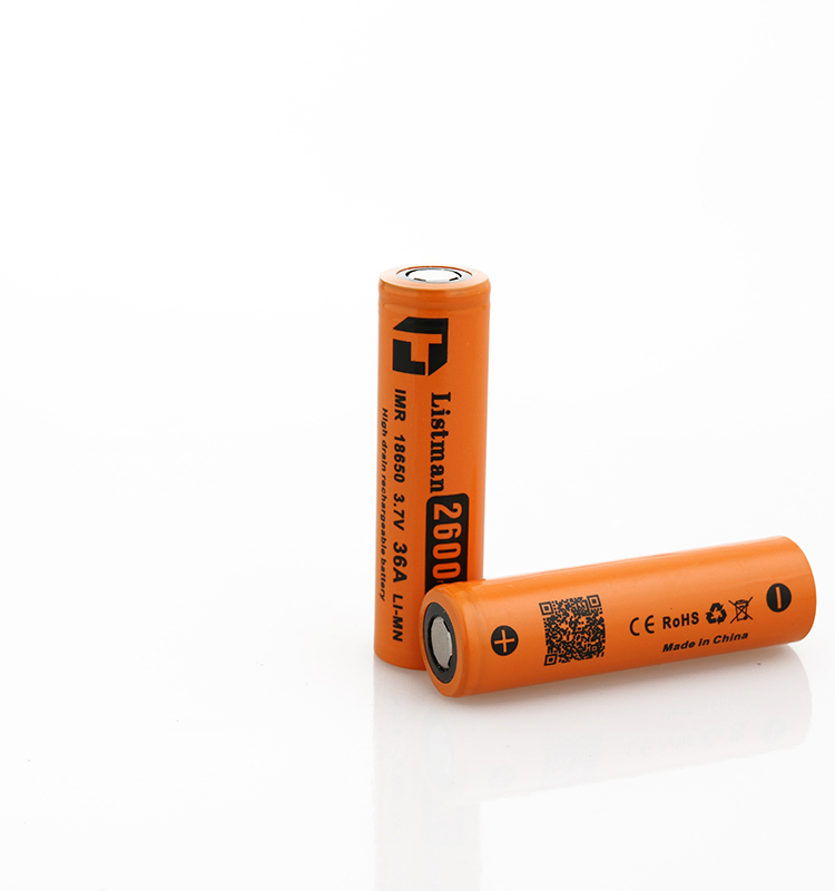 High capacity 18650 Listman 18650 2600mAh 36a 3.7V Rechargeable Battery Cell ncm 18650