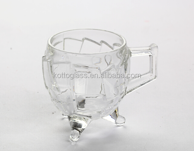 6 pcs high quality like crystalline crack 3 foot glass tea cup