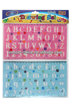 Plastic alphabet drawing stencil ruler for kids