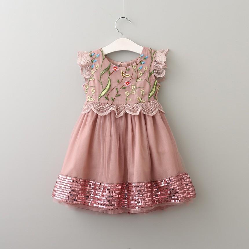 Al por mayor ropa bordada a mano bebé vestido para la boda flor ...