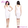 Elegant White Office V Neck Sleevleess Ladies Casual Bodycon Dress