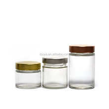 Straight Sided Clear Glass Jar 9 oz w/ Gold Lid