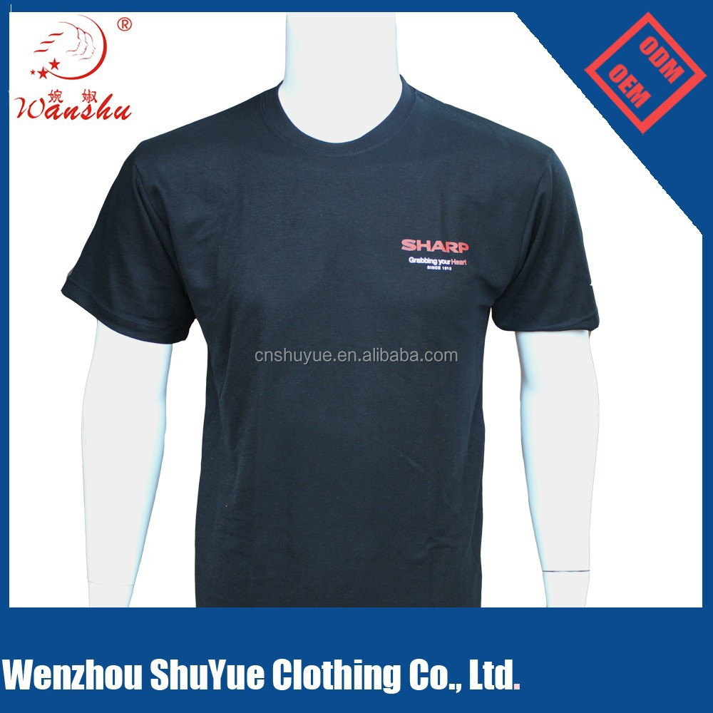 Black cotton custom logo promotional tshirts, promotional print t shirt