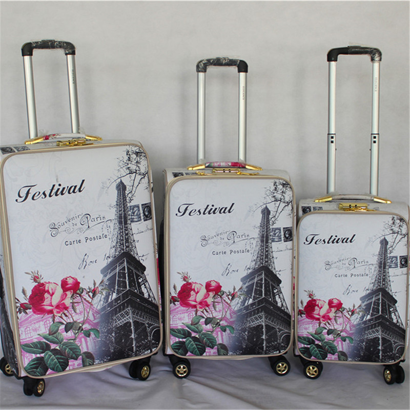 Print PU caster trolley spinner wheel 3 pcs luggage bag travel suitcase cabin laptop travel bag