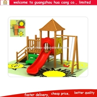 Small size wooden outdoor equipment with slide and swing