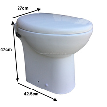 Portable 24V boat RV macerator toilet bowl one piece white