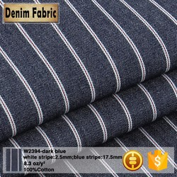 w2394 bule and white 12*12 stripe denim fabric for dress