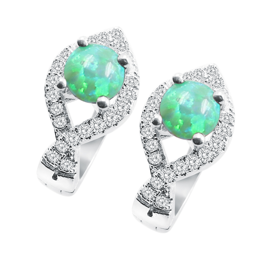 Green Fire <strong>K11</strong> Opal & Zircon 925 Silver Stud Earrings For Women New Year Gift For Wife