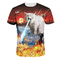 3D Crazy Bear digital print polyester short sleeve off the shoulder top