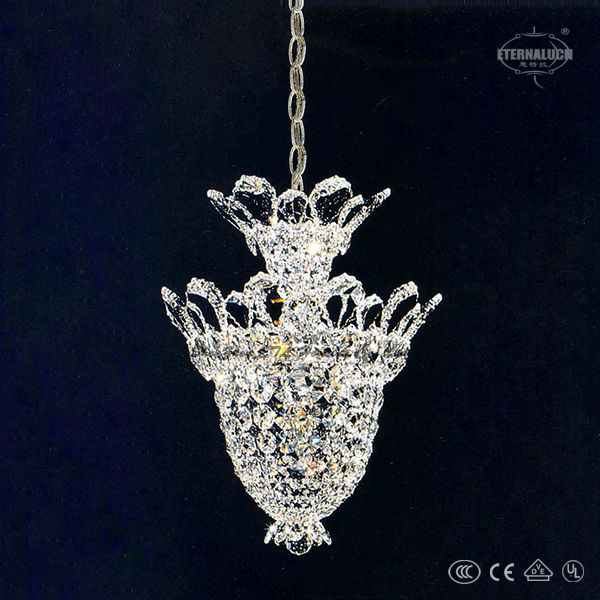 European traditional 8 light Georgian style chrome big cheap crystal chandelier lighting with good glass arms ETL88016
