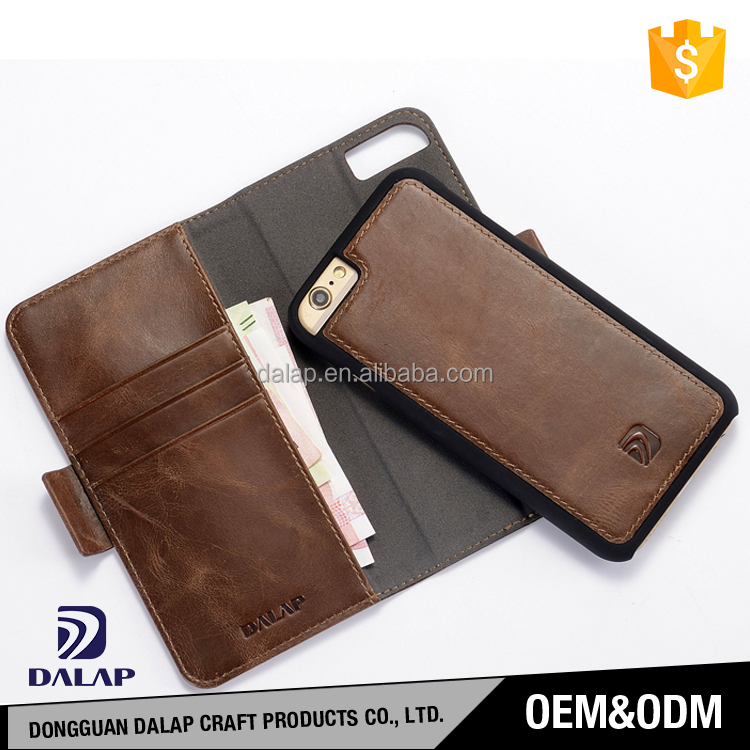 Free sample MOQ=100pcs custom design genuine flip wallet leather phone case for iphone 7 7plus