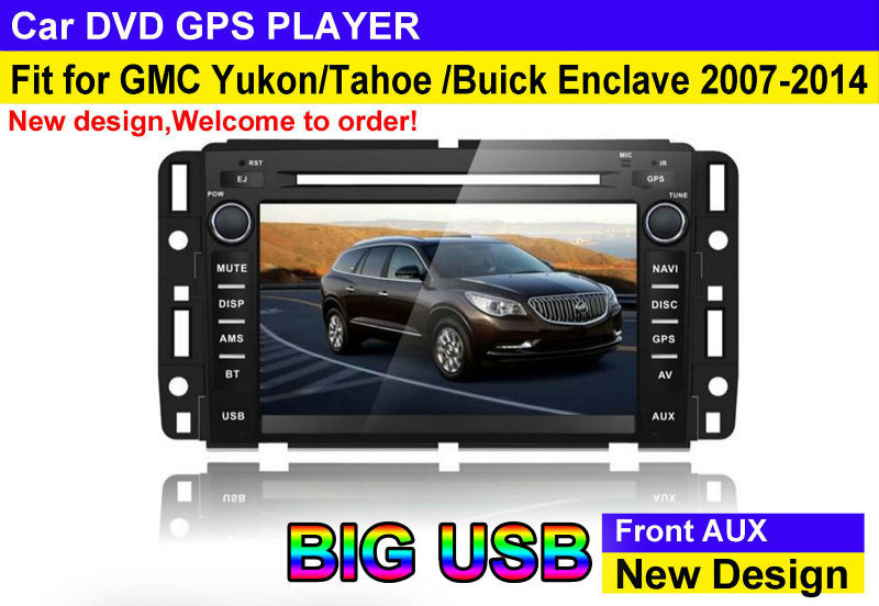 touch screen car dvd play fit for GMC 2007 - 2012 Yukon Buick Enclave with new design big USB manual with radio bluetooth gps tv
