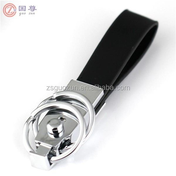 Detachable Through Waist Belt Double Loops Black Leather Strap Keyring Keychain Key Chain Ring Key Fob Keychains