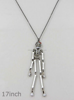 Skull Enameled Pendant Dangle Halloween Necklaces