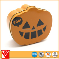 Pumpkin shape custom food packaging gift tins for easter day