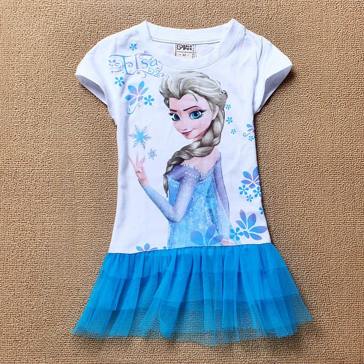 Girls Cartoon dress Pattern Short Sleeve Princess Dress Children Kids Fashion Summer Clothing Free Drop Ship