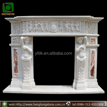 Indoor used white marble fireplace mantel