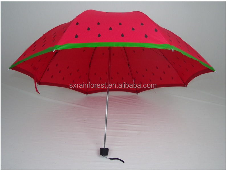 lovely watermelon printing 3 fold umbrella with cheap price