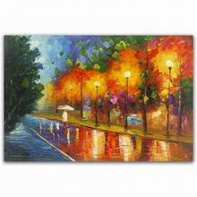 Custom famous abstract rain street lamp and tree scenery art oil paintings
