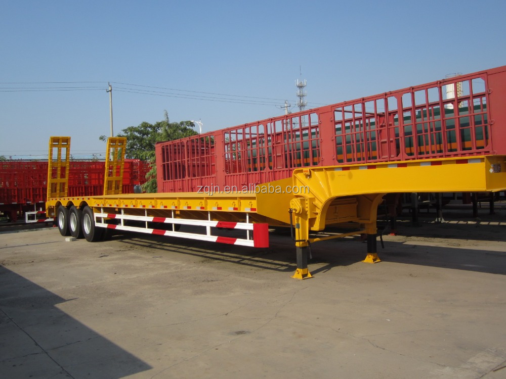 Hot selling 50 tons low loader trailers low bed semi trailer log trailers with grapple