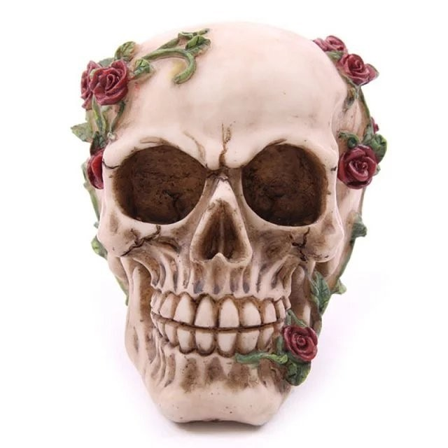 Day of the dead halloween party decoration resin skull with flower rose