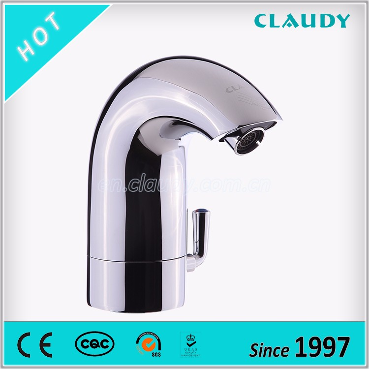 Battery Power Single Hole CE Infrared Automatic Sensors Faucet with Temperature Mixer