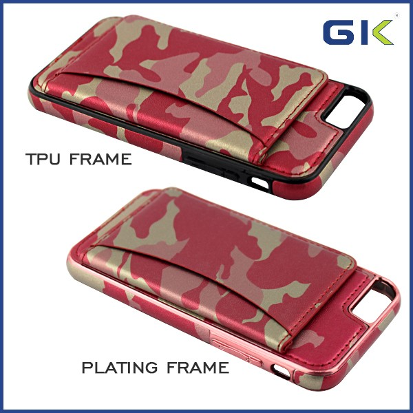 [GGIT] New Camouflage Grain With Card Slot TPU+PU Leather Phone Case For IPhone 7 Flip Cover