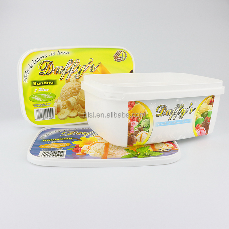 2L IML PP Plastic Disposable Ice Cream Container,Rectangular Ice Cream Cup,Wholesale Ice Cream Tub With Lid