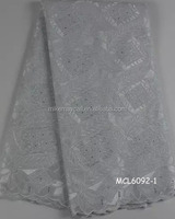 MCL6092-1 African cotton voile Embroidery Lace Fabric/White voile lace fabric/nigerian heavy swiss cotton lace fabric for party
