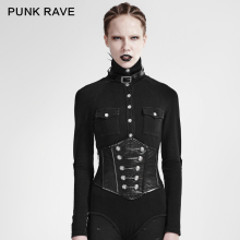 S-184 PUNK Convenient To Wear Off Military Uniform Buttons And Zipper Modeling PU Leather Girdle