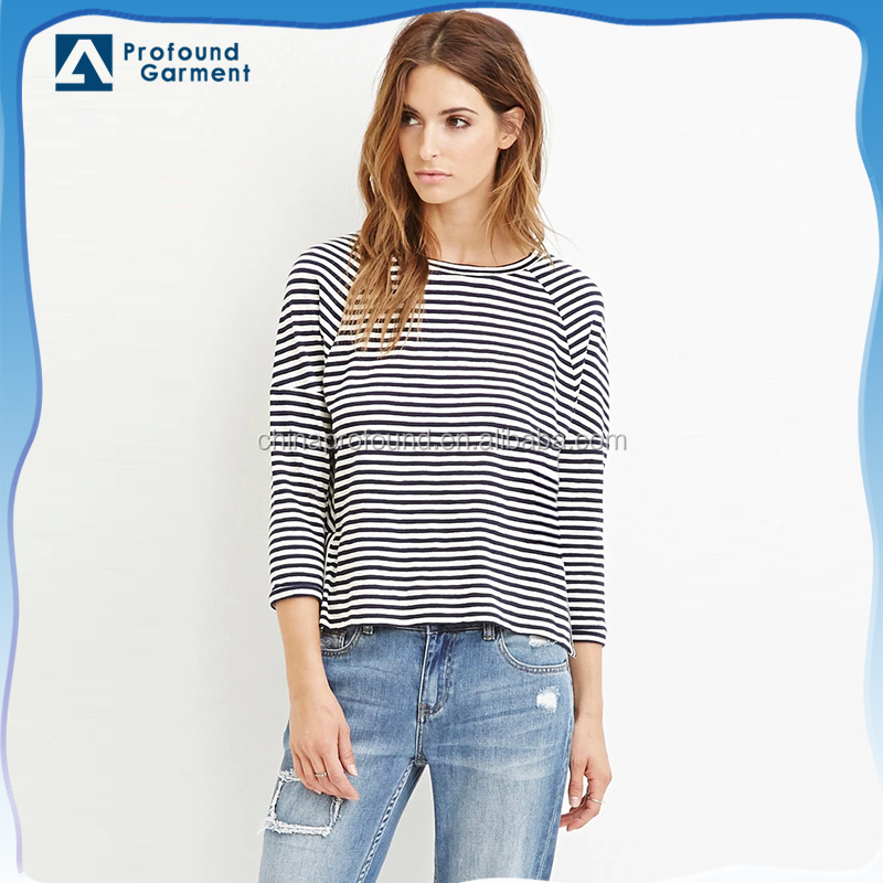 Womens loose long sleeve black white striped t shirts
