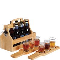 New design bamboo wooden wine beer bottle carrier with two beer flight paddles