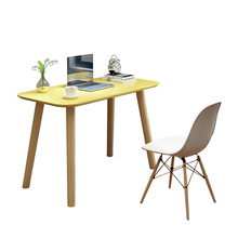 Modern white plastic chair table with wooden legs for dining