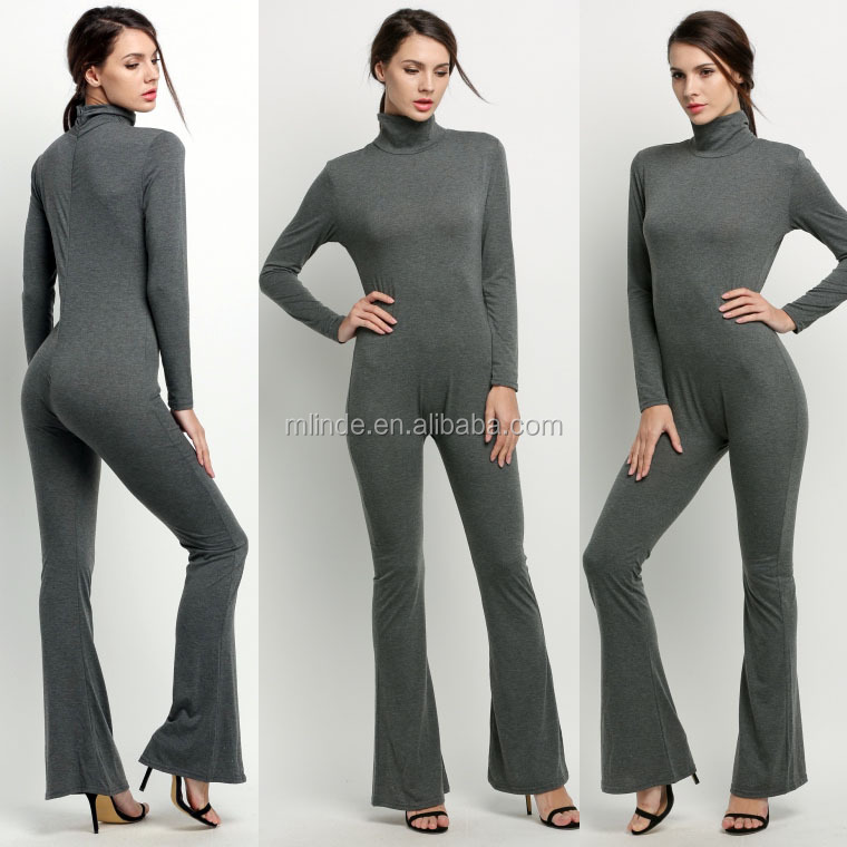 Wholesale Fashion Women Long Sleeve High Neck Bodycon Casual Jumpsuit Romper Cheap Cotton Workwear Adult Customized Overalls