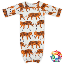 Baby Boys And Girls Tiger Print Sleep Dress And Beanie Hat Kids Gown Picture