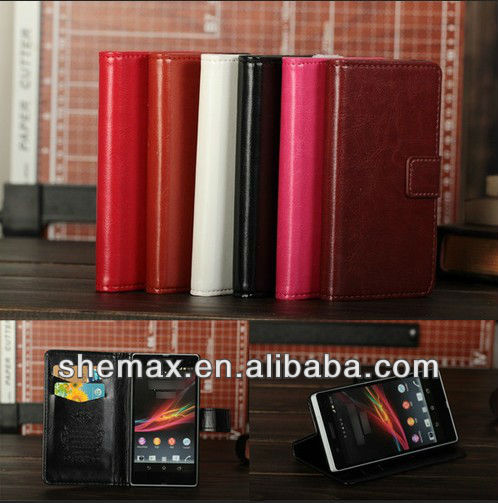 Durable PU Leather Card Flip Wallet Case Cover For Sony Xperia Z L36i L36h C6603