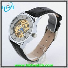 2015New fashion Men's Black Leather antique see through dial watch