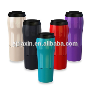 2017 New Colorful Custom Logo 500ml double wall plastic travel mug& Leak Proof magic suction mug