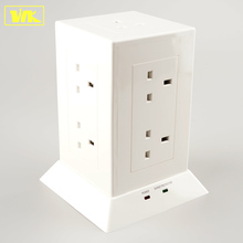 WK Pop BS Electrical Extension Tower Socket with Surge Protection and 13A Fused UK Plug Top White / Black USB Power Socket