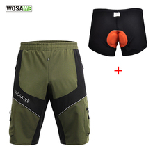 WOSAWE MTB Road Men Loose <strong>Cycling</strong> Shorts Mountain ciclismo Bike / Bicycle Leisure Baggy 3D Padded Bermuda Shorts Clothings