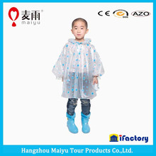 popular design kids pvc rain wholesale colorful raincoat /poncho with hat