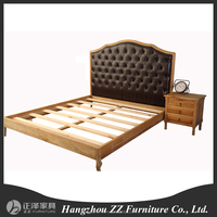 Wooden carved fabric bed headboard