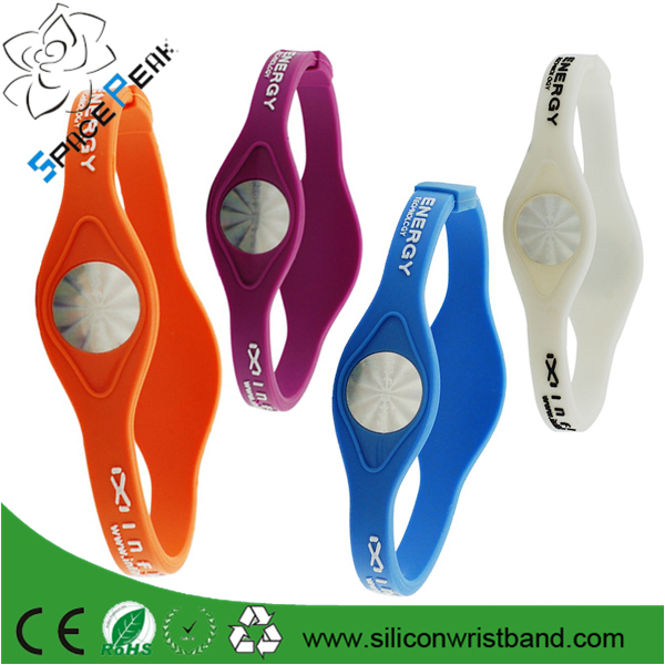 Custom Pure Strength Balance Silicone Power band Energy ion positive Hologram Bracelet
