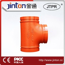 China supplier approved fire fighting grooved reducing tee