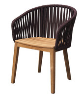 New design outdoor furniture teak garden chairs with fabric webbing back