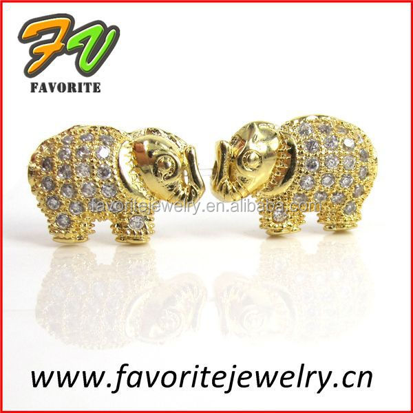 Elephant gold plated rhinestone micro pave setting pendant charms for necklace