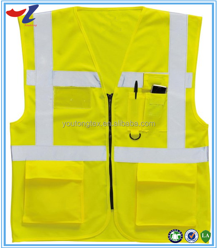 15 year experience factory direct sale Hi Vis reflective Safety Vest with pocket and zipper